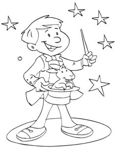 A young magician showing magic coloring page