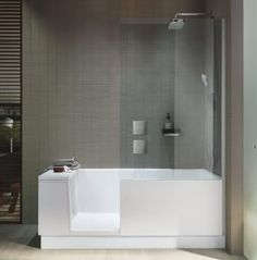 If space is an issue the Walk-in Shower + Bath from Duravit is an ideal alternative.The bathtub has an integrated glass door. Walk In Shower Bath, Bathtub Shower Combo, Bathroom Tub Shower, Bathroom Ideas, Duravit, Modern Bathroom Design, Bath Design, Douche Design, Modern Shower