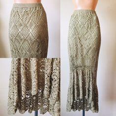 70987388b M Tan Crochet Maxi Skirt Vintage Flapper Boho Gypsy Bohemian Mermaid Vintage