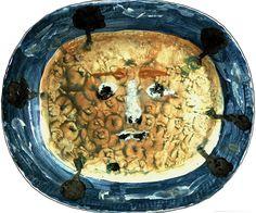 Pablo Picasso (Spanish, 1881–1973)   Plat Visage Masque Putoise, 1947 Ceramic, Unique, handpainted white terra cotta 12.6 х 14.9 in. cm.