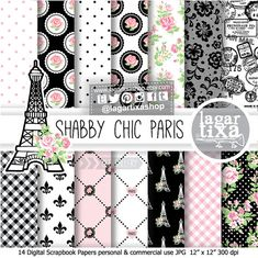 Shabby Chic Paris Digital Paper Pink Black Roses by LagartixaShop