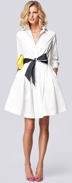 Carolina Herrera white shirt dress Instead of the yellow purse I would do a simple and classic cherry red
