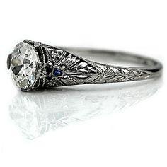 Art Deco Diamond and Sapphire Ring, 1920's, SKU: 745