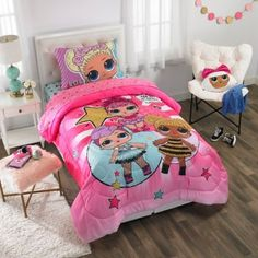Shop for lol bedding at Bed Bath & Beyond. Buy top selling products like LOL Surprise! Reversible Twin/Full Comforter Set in Pink and LOL Surprise Rocker Comforter Set. Bedroom Colors, Bedroom Decor, Master Bedroom, Little Girl Rooms, Small Girls Bedrooms, Kid Bedrooms, Lol Dolls, Cool Beds, Comforter Sets