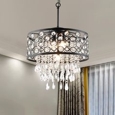 Round Crystal Chandelier, Chandelier Pendant Lights, Crystal Pendant, Glass Crystal, Dining Room Light Fixtures, Ceiling Light Fixtures, Ceiling Lights, Ceiling Fan With Remote, Drum Shade
