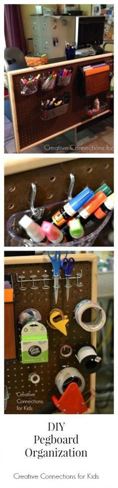 DIY Pegboard Organization on a desk from Creative Connections for Kids