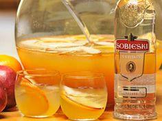 Yuletide Punch - Christmas Holidays - clear apple juice, chai tea, oranges, red apples, Sobieski Polish Vodka.