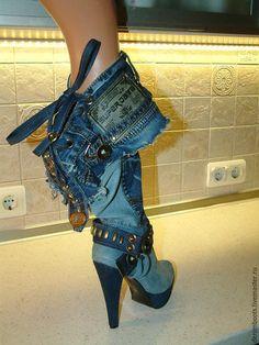 """Обувь ручной работы. Сапоги джинсовые """"Коктейль"""" на платформе, каблук 15см.. Denim Boots (джинсовая обувь). Ярмарка Мастеров. джинс"""