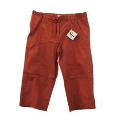 Burnt Orange Rust Capri Pants Cotton Shana K Cargo Drawstring Zipper New