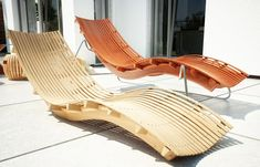 Wooden Chaise Lounge Concept in Rendering - Coolest Furniture Home Decor Furniture, Unique Furniture, Garden Furniture, Furniture Design, Outdoor Furniture, Outdoor Decor, Furniture Chairs, Pool Lounge Chairs, Deck Chairs