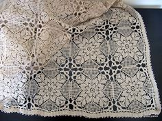 Crochet Curtain Crochet Tablecloth Rectangle by crochetlyubava