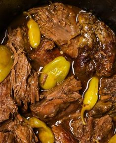 """This easy Mississippi Pot Roast is loaded with tender and juicy chuck roast! It's a """"dump and go"""" recipe made with a beef roast, pepperoncini peppers, au jus gravy mix, ranch dressing mix and butter. Pot Roast Recipes, Slow Cooker Recipes, Beef Recipes, Cooking Recipes, Recipies, Turkey Recipes, Fall Recipes, Ninja Recipes, Slow Cooking"""