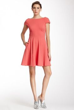 Yoana Baraschi Memphis Textured Cap Sleeve Dress - dress for pear body shape #pearbody