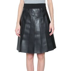 Atos Lombardini Eco friendly leather skirt (170 CHF) ❤ liked on Polyvore featuring skirts, black, knee length leather skirt, sash belt, black leather skirt, atos lombardini and pleated leather skirt