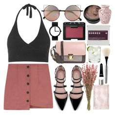"""""""makin me blush"""" by sophiielin ❤ liked on Polyvore featuring Guide London, Linda Farrow, Korres, NARS Cosmetics, Issey Miyake, Zara, Burberry, Erika Cavallini Semi-Couture, Topshop and esum"""