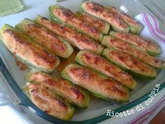 Zucchine ripiene al prosciutto e gratinate in forno