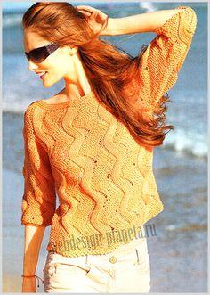 оранжевый пуловер спицами с зигзагами фото