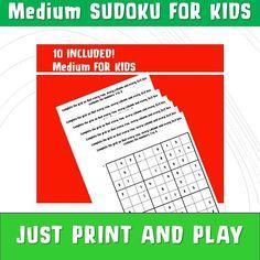 Maths Sudoku with Answers/ Sudoku Printable/ Kids Printable Games Math / Medium Sudoku/ Learning and School/ Sudoku pdf/ NinaLaZina Games For Kids, Games To Play, Math Problem Solving, Math Problems, Encouragement, Printables, Learning, Maths, School
