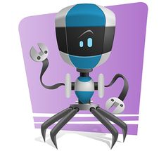 Blue Robot Character Free Vector