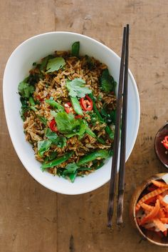 Vegan Fried Rice with Sugar Snap Peas + Chilli - use soy free soy sauce