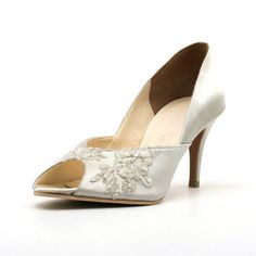 b01a9f7ff4e Items similar to Three Inch Ivory White Beaded Satin Wedding Shoe with  French Lace on Etsy