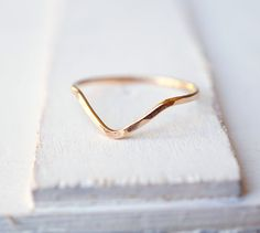 Chevron Ring, 14k Gold Ring, Skinny Ring, Stacking Ring, Rose Gold Ring, White…