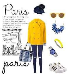 """Paris Weekend"" by geonell ❤ liked on Polyvore featuring 7 For All Mankind, Diane Von Furstenberg, Play Comme des Garçons, Roseanna, adidas Originals, French Connection, Kate Spade, Black and CÉLINE"