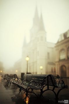 Foggy French Quarter, New Orleans, Louisiana  photo by Pompob - As I type this, New Orleans is threatened by yet another massive hurricane.  I hope and pray that this beautiful city, that has already suffered so much, is spared another catastrophe so that this beautiful image is not a memory of things past.