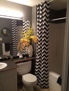 Black, White, Yellow Small Bathroom. Chevon Floor To Ceiling Curtains.