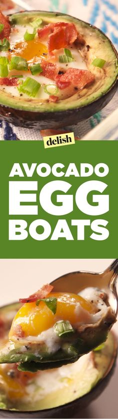 Avocado egg boats are full of healthy fats and protein, plus they taste bomb. Get the recipe on Delish.com.