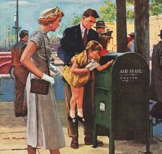 Forties Family Airmail ~ 1949 American Airlines ad.