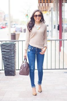Casual distressed denim and comfy sweater... I just bought a sweater that I could sub for this look.