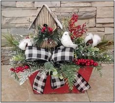 Birdhouse Floral Centerpiece Birdhouse Arrangement with White Bird Perched in Mixed Greenery Cotton Nature Arrangement Christmas Floral Arrangements, Christmas Greenery, Indoor Christmas Decorations, Farmhouse Christmas Decor, Christmas Centerpieces, Floral Centerpieces, Rustic Christmas, White Christmas, Christmas Holidays