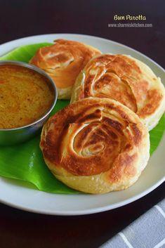 Bun Parotta Recipe   Madurai Bun Parotta   Eggless Bun Parotta Indian Food Recipes, Vegetarian Recipes, Cooking Recipes, Ethnic Recipes, Bread Recipes, Madurai, Latest Recipe, Food Print, Food Photography