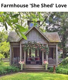New Cozy Patio Decor Cottage Porch 59 Ideas Cottage Porch, Backyard Cottage, Backyard Sheds, Backyard Landscaping, Backyard Gazebo, Garden Sheds, Shed With Porch, Shed Blueprints, Indoor Greenhouse