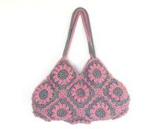 Flower crochet handbag in pink and gray crochet bag by zolayka, $85.00