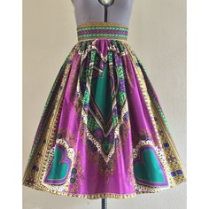 Purple Heart African Wax Print High Waisted Skirt Fit and Flare Purple... ($50) ❤ liked on Polyvore featuring skirts, grey, women's clothing, long summer skirts, long flared skirt, high waisted skirts, grey skirt and cotton skirt