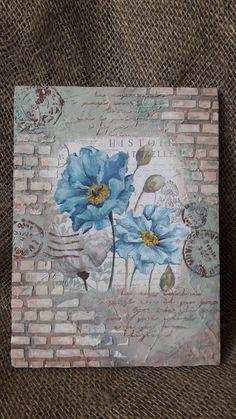 Shabby Chic Roses Bookmarks, Vintage Roses Strips, Shabby Roses Paper, Vintage R. Mixed Media Canvas, Mixed Media Collage, Collage Art, Decoupage Art, Decoupage Vintage, Kunstjournal Inspiration, Art Journal Inspiration, Altered Canvas, Altered Art