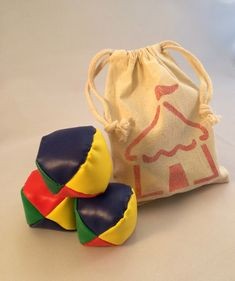 Carnival Juggling Balls in Reusable Circus Bag - Circus Party Favors, Circus Tent Muslin Drawstring Bag