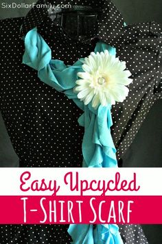 Who has old t-shirts lying around that can't be worn anymore? Don't toss it or let it sit in a box! Make this Easy Upcycled T-shirt Scarf instead! Its an incredibly easy craft to make and makes a great gift too!