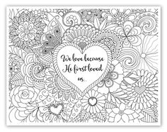 "FREE printable Christian, Religious adult coloring sheets w/ bible verses. I am just getting in on this new trend. Everyone says it is a great stress reliever! The finished projects always look so pretty and I have seen some framing them. I ordered coloring pencils from Amazon, nothing pricey. And Time Warp Wife offers a FREE printable design from her website every Friday!! You can find it under the Bible Study Resources ""Learning to Love"" Study links. @timewarpwife"