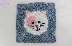 #crochet, free pattern, granny square, cat, blanket, throw, afghan, #haken, gratis patroon (Engels), granny square met kat, deken, sprei, kraamcadeau, #haakpatroon