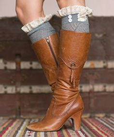 Dark Gray Lace Boot Cuffs