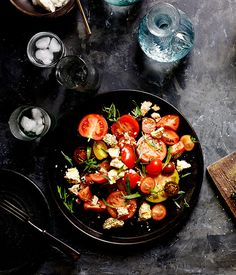 Australian Gourmet Traveller recipe for tomato, shanklish and tarragon by Joseph Abboud from Rumi, Melbourne.