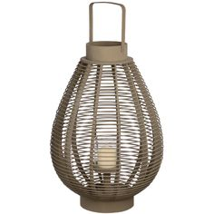 Dark grey wooden woven lantern | From Baytree Interiors