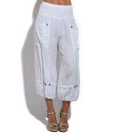 ebefe39c60 100% LIN White Button-Accent Linen Capri Pants - Plus Too