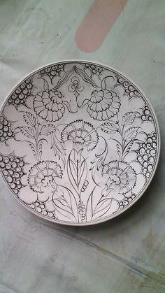 Painted Ceramic Plates, Clay Plates, Ceramic Clay, Ceramic Painting, Ceramic Pottery, Turkish Design, Turkish Art, Blue Pottery, China Painting