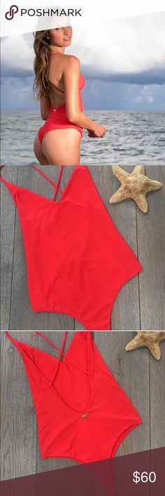 Sexy Red One-Piece Bathing Suit  For sale is a brand new, never worn one piece from a local bathing suit company ! Super cute, wish I could keep it but it's a little too big for me with my small chest!! Small Brazilian cut in the back with an adorable cross strap open back!!! This is an amazing deal, I paid much more for this so please only reasonable offers! Swim One Pieces