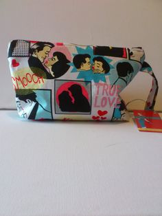 make up bag retro cartoon comic print by Mariasheehy on Etsy, Retro Cartoons, Kitsch, Trending Outfits, Unique Jewelry, Handmade Gifts, Comics, Summer, How To Make, Bags