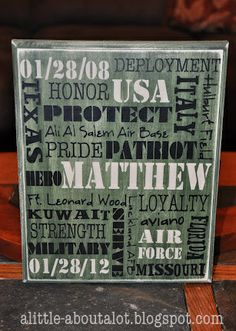 a little about A LOT: Military Subway Art - Tutorial Army Crafts, Military Crafts, Military Retirement, Military Love, Retirement Parties, Retirement Gifts, Retirement Ideas, Army Mom, Army Life